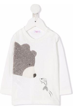 Il gufo Teddy bear appliqué long-sleeve top