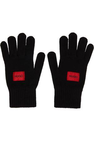 Hugo Men Gloves - Black Wool Logo Gloves