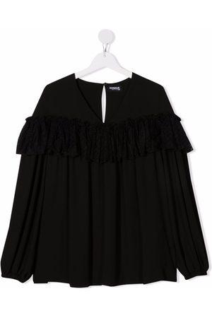 DONDUP KIDS Girls Blouses - TEEN tulle-trimmed satin blouse
