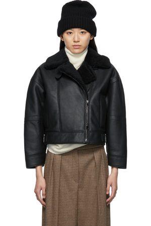 Max Mara Women Leather Jackets - Black Shearling Domizia Jacket