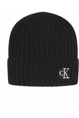Calvin Klein Boys Beanies - Logo-embroidered ribbed-knit beanie