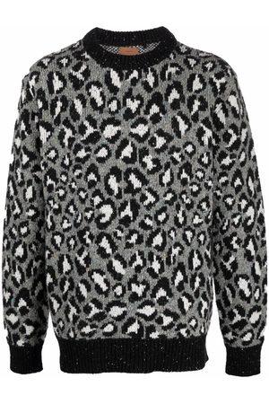 Alanui Leopard-intarsia wool-blend jumper - Grey