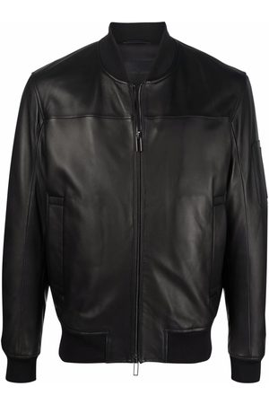 Emporio Armani Zip-up leather bomber jacket