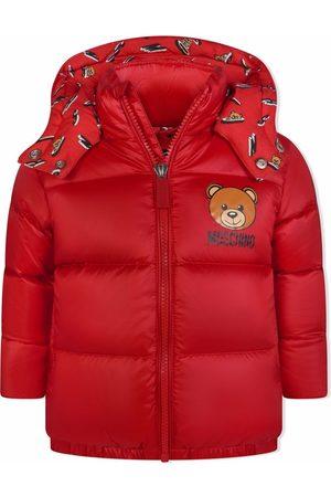 Moschino Kids Logo-print hooded puffer jacket
