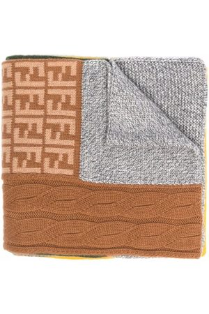 Fendi Kids Panelled knitted scarf