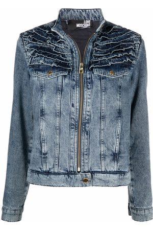 Love Moschino Ruffle-detail denim jacket