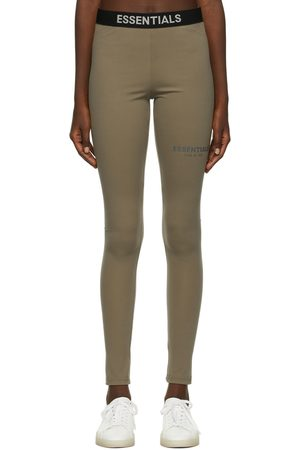 Essentials Women Sweats - Taupe Thermal Waffle Logo Lounge Pants