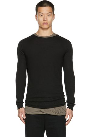 Rick Owens Men Sweatshirts - Black Cashmere Crewneck Sweater