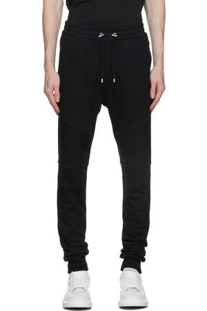 Balmain Men Sweats - Black Flocked Logo Lounge Pants
