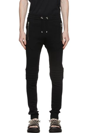 Balmain Black Cotton Embossed Logo Lounge Pants