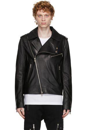 Balmain Men Leather Jackets - Black Leather Biker Jacket