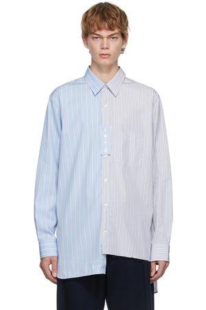 Lanvin Blue & Grey Oversized Asymmetric Shirt