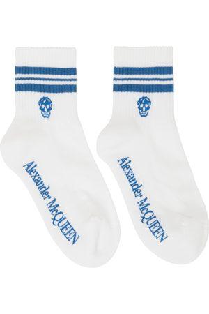 Alexander McQueen Women Sports Equipment - White & Blue Stripe Skull Sport Socks