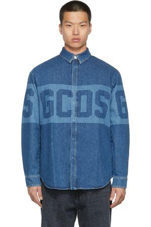 GCDS Men Denim - Blue Denim Logo Shirt