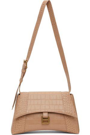 Balenciaga Women Shoulder Bags - Beige Croc Soft Hourglass Bag