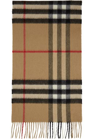 Burberry Men Scarves - Beige Cashmere Classic Check Scarf