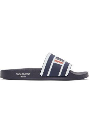 Thom Browne Men Sandals - Navy Rubber Trompe L'Oeil Slides
