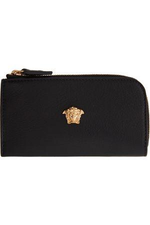 Versace Women Wallets - Black Medusa Zip Card Holder
