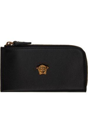Versace Women Wallets - Black & Gold 'La Medusa' Zip Card Holder