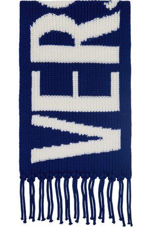 Versace Men Scarves - Blue Wool Intarsia Logo Scarf