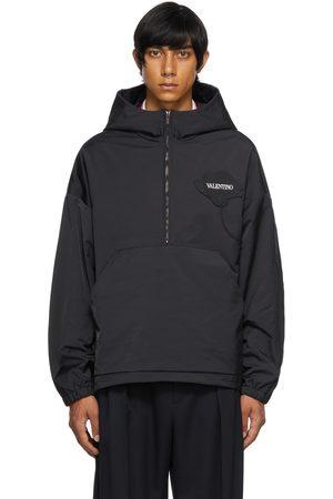 Valentino Men Jackets - Black Garden Hooded Half-Zip Jacket