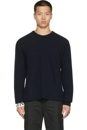 VALENTINO Men Sweatshirts - Navy Wool Sweater