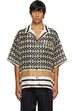 Valentino Men Shirts - Beige Foulard Print Bowling Shirt