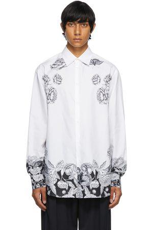 VALENTINO Men Shirts - White & Black Poplin Dark Blooming Shirt