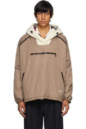 VALENTINO Men Anoraks - Beige Re-Sew Paneled Anorak Jacket
