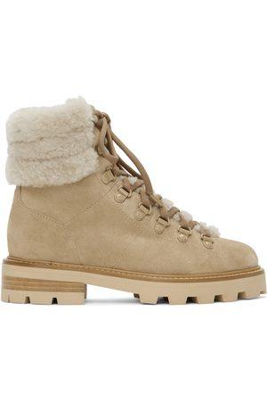 Jimmy Choo Beige Shearling Eshe Hiking Boots