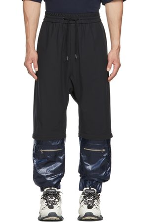 JERIH Black & Navy Cuffed Pants