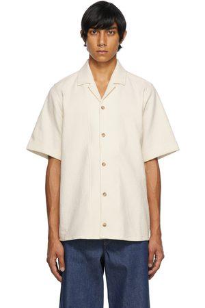 King & Tuckfield Men Short sleeves - Beige Crepe Bowling Short Sleeve Shirt