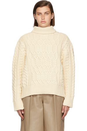Blossom Off-White Cashmere Laon Cable Turtleneck