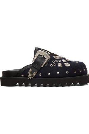 TOGA VIRILIS Black & Navy Felt Eyelet Sabot Loafers