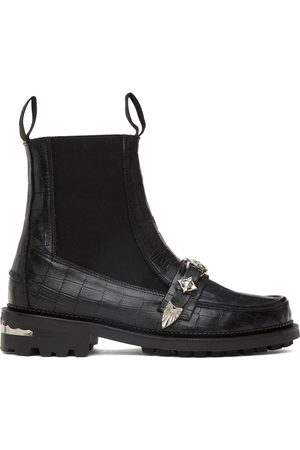 TOGA VIRILIS Men Chelsea Boots - Black Croc Moc Chelsea Boots