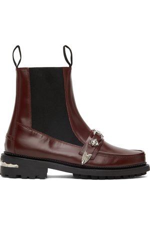 TOGA VIRILIS Men Chelsea Boots - Burgundy Polished Leather Moc Chelsea Boots