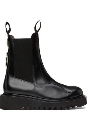 TOGA VIRILIS Men Chelsea Boots - Black Polished Leather Chelsea Boots