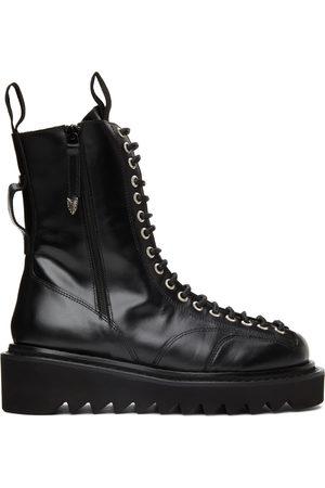 TOGA VIRILIS Black Leather Lace-Up Boots