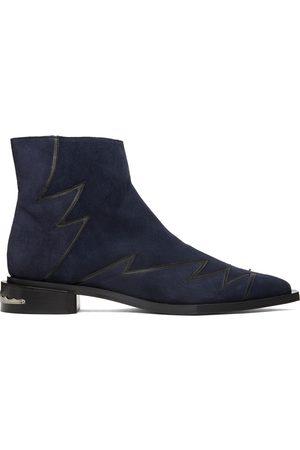 Toga Virilis Men Boots - Navy Suede Embellished Boots