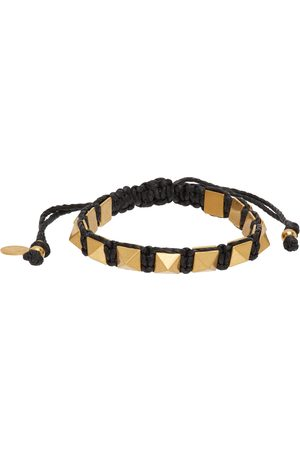 Valentino Garavani Men Bracelets - Black Waxed Cotton Rockstud Bracelet