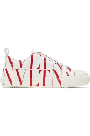 Valentino Garavani Men Sneakers - White & Red 'VLTN' Giggies Low Sneakers