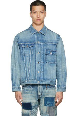 FDMTL Men Denim Jackets - Blue Denim Asymmetrical Jacket