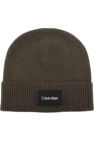 Calvin Klein Patch Ribbed Beanie Hat Khaki