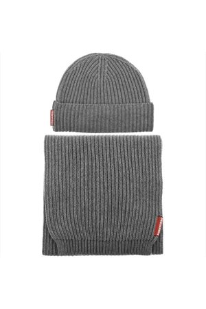 DSQUARED2 Knit Beanie Hat And Scarf Grey
