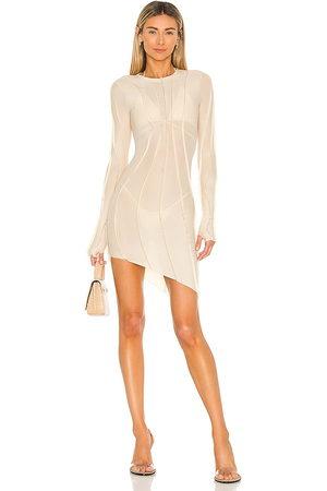 SAMI MIRO VINTAGE Asymmetric Mesh Mini Dress in Nude.