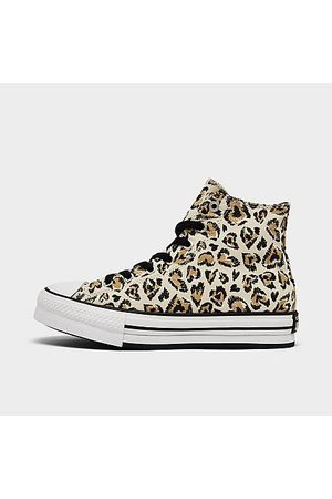 Converse Girls' Big Kids' Jungle Cats EVA Platform Chuck Taylor All Star Leopard Casual Shoes in Animal Print/Beige/Driftwood Size 4.0 Canvas