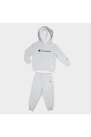 Champion Hoodies - Boys' Infant Classic Script Hoodie and Joggers Set in Grey/ Size 12 Month Cotton/Fleece