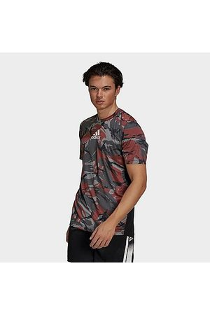 Adidas Men's Designed 2 Move Camo Graphic T-Shirt in /Camo/Grey/Scarlet Size Small Polyester