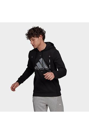 Adidas Men Hoodies - Men's 3 Bar Graphic Pullover Hoodie in / Size Small Cotton/Polyester