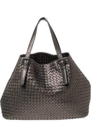 Bottega Veneta Metallic Intrecciato Leather Large Cesta Tote